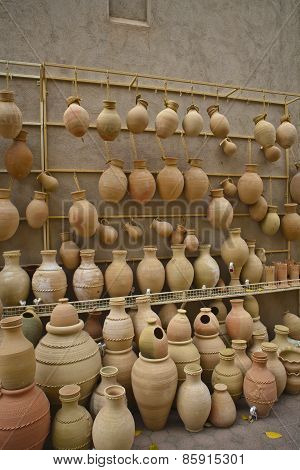 Potteries in Nizwa Souq From