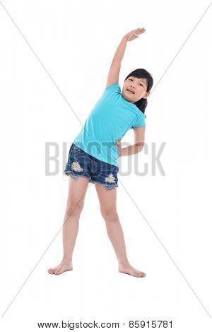Full portrait of little girl sport in studio