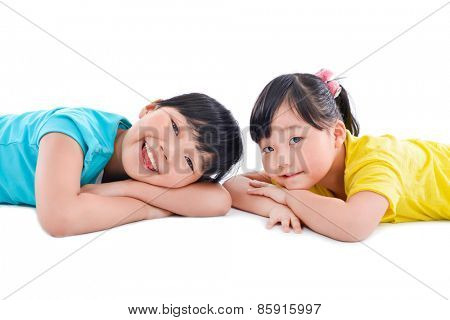 Smile two asian little girls on the white background