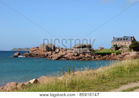 France, Granite Rocks In Tregastel