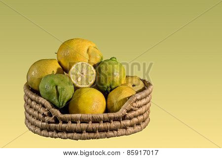 Natural Lemons In A Basket