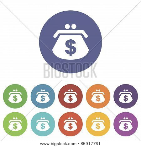 Dollar purse flat icon