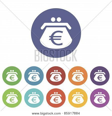 Euro purse flat icon