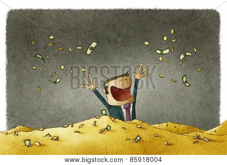 man celebrating his wealth