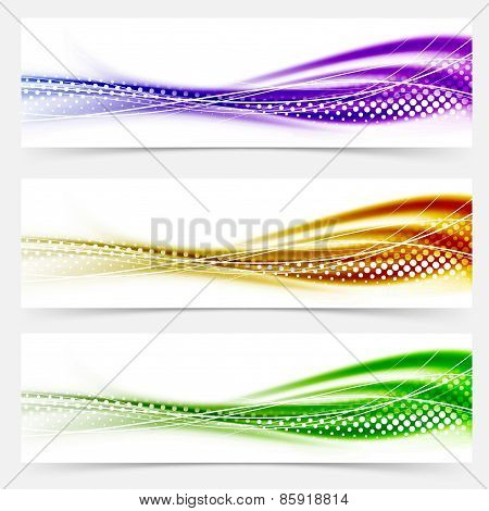 Vivid Speed Swoosh Abstract Line Banner Footer Collection