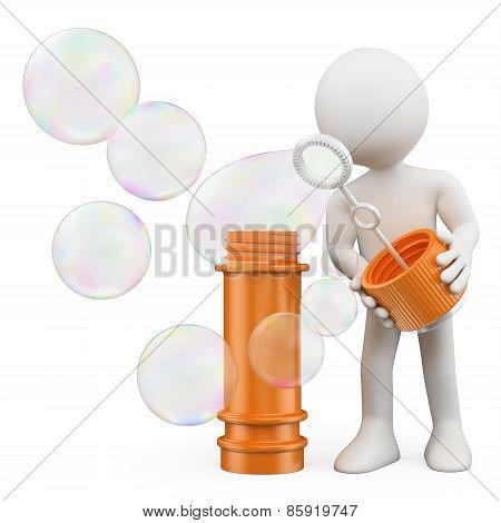 3D White People. Man Blowing Soap Bubbles