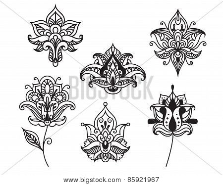 Decorative persian and indian paisley flowers