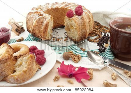 Sponge Cake With Apple, Raspberry And Cinnamon. Selective Focus