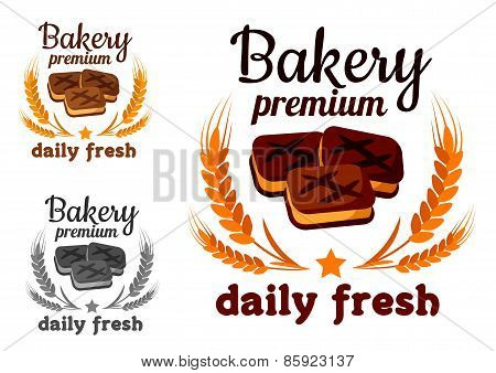 Bakery emblem with fresh cookie