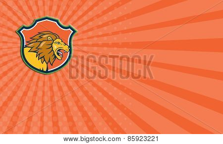 Business Card Angry Lion Head Roar Shield Cartoon