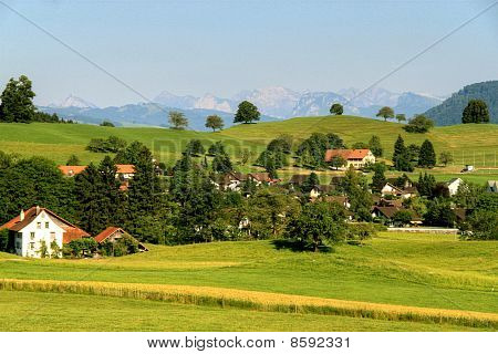 Village In Mountains In The Summer