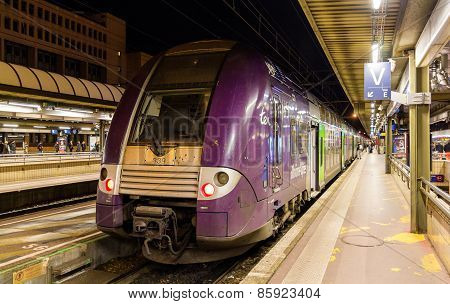 Lyon, France - January 07: Sncf Double-decker Regional Train On January 7, 2014 At Lyon Part-dieu Ra