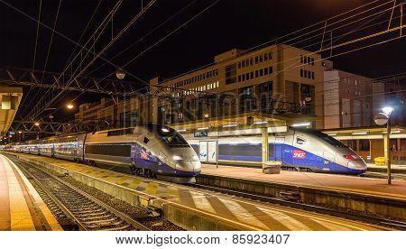 Lyon, France - January 07: Sncf Tgv Duplex Trains On January 7, 2014 At Lyon Part-dieu Railway Stati