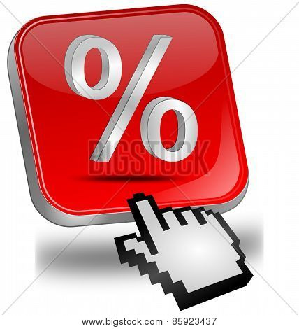 Discount button with percent symbol and cursor