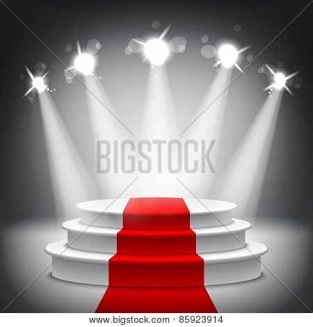 Illuminated Stage Podium Red Carpet Award Ceremony Vector