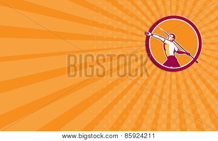 Business Card Javelin Throw Track And Field Athlete Circle