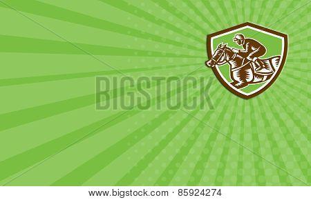Business Card Jockey Horse Racing Shield Retro Woodcut