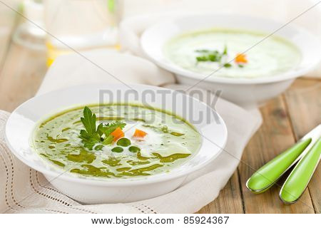 Green Pea Soup In Bowls.