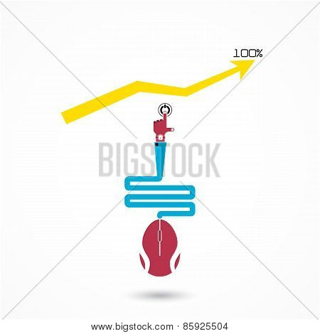 Hand Of Businessman Hand Press Start Button And Increase Graph Symbol  With Mouse Sign
