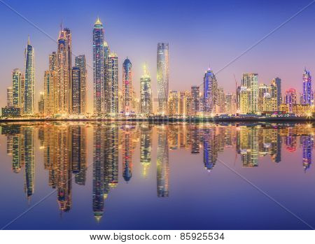 The beauty panorama of Dubai marina. UAE