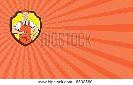 Business Card Cook Chef Pointing Shield Cartoon