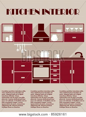 Kitchen interior infographic template