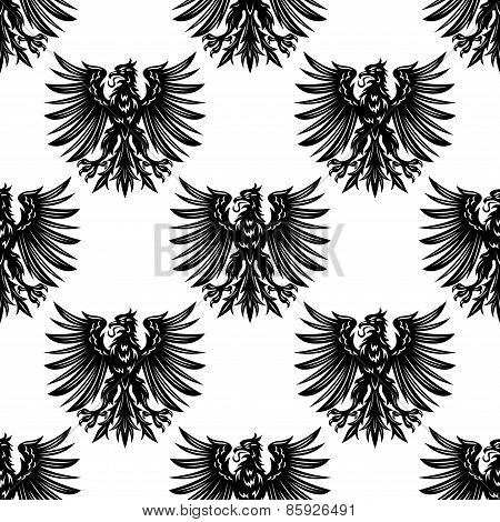 Heraldic eagles seamless pattern background