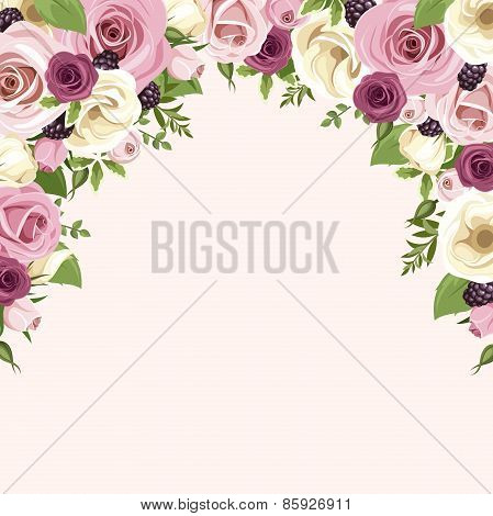 Background with pink and white roses and lisianthus flowers. Vector illustration.