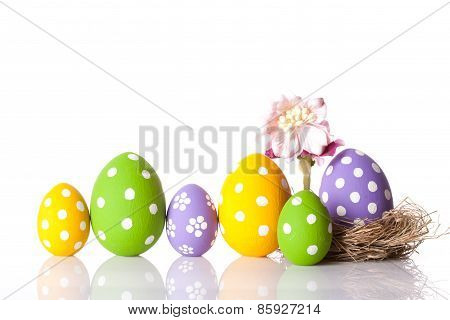 Hand painted Easter eggs and flower