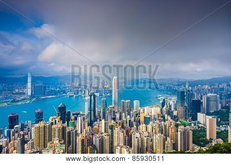 Hong Kong, China cityscape from Victoria Peak.
