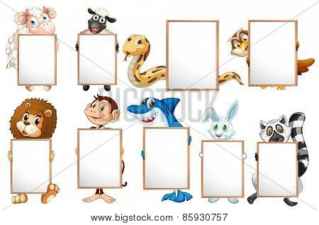 Many animals holding empty signs