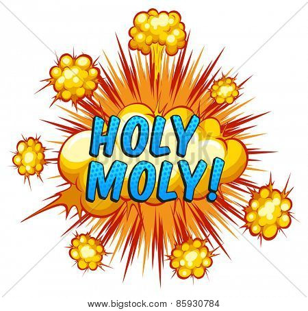Word holy moly with cloud explosion background