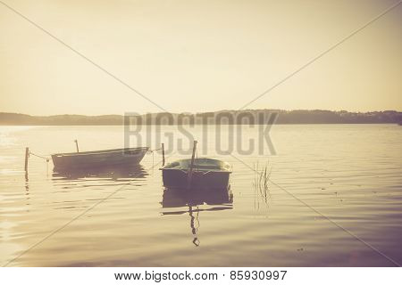 Vintage Lake Landscape With Boats.