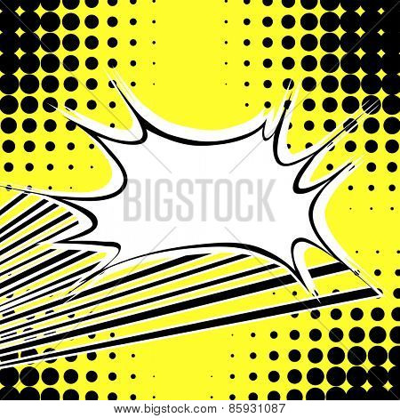 Blank comic balloon with yellow background