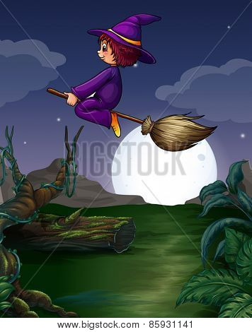 Witch riding on a broom at night
