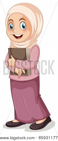Close up muslim girl holding a book