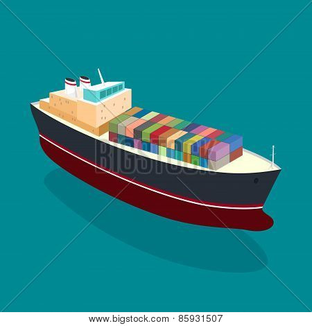 Isometric Container Ship On The Water