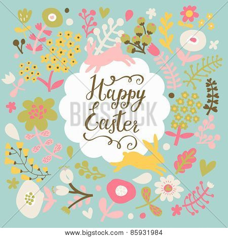 Sweet happy easter card in vector. Stylish rabbits in leafs, hearts and flowers . Lovely holiday background