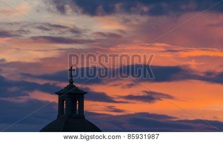 silhouette of a church.