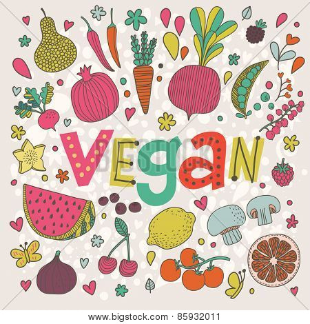 Lovely vegan concept card in vector. Tasty pear, cherry, pomegranate, orange, mango, watermelon, lemon, apple, red currant, raspberry, fig, blueberry and carambola in funny cartoon style
