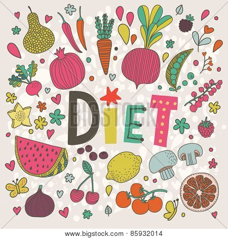 Lovely diet concept card in vector. Tasty pear, cherry, pomegranate, orange, mango, watermelon, lemon, apple, red currant, raspberry, fig, blueberry and carambola in funny cartoon style
