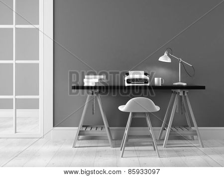 Black and white interior with typewriter 3D rendering