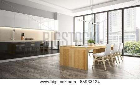 Interior of dining room 3D rendering