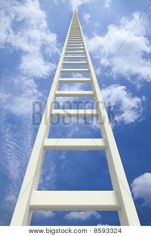 White endless ladder going up
