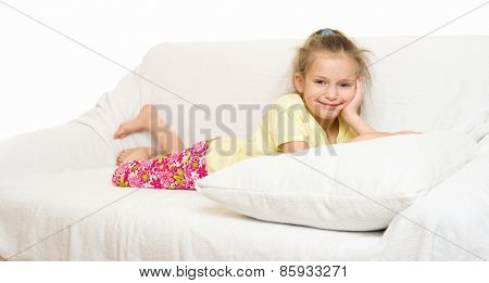 little girl in bed isolated