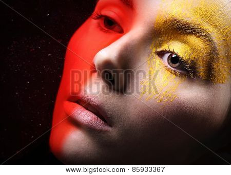 Hot red, sunny yellow, fancy makeup
