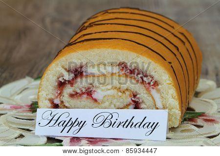 Happy birthday card with strawberry Swiss roll