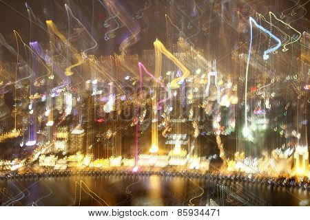 Colorful Blurred Night Lights Of Shanghai Background