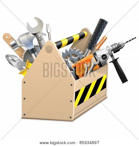 Vector Wooden Box With Tools