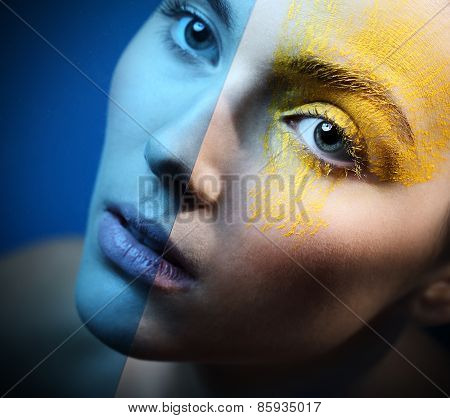 Blue eye makeup ice - cold sensual